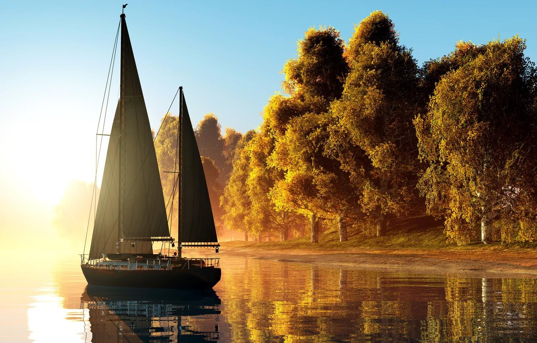 Photo wallpaper autumn, the sun, trees, fog, river, dawn, shore, morning, yellow, yacht, sails, 3D Graphics