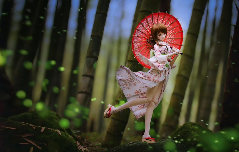 Photo wallpaper umbrella, toy, Japanese, doll