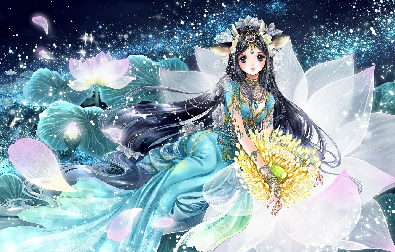 Photo wallpaper girl, flowers, anime, petals, art, shiitake, gensoudou
