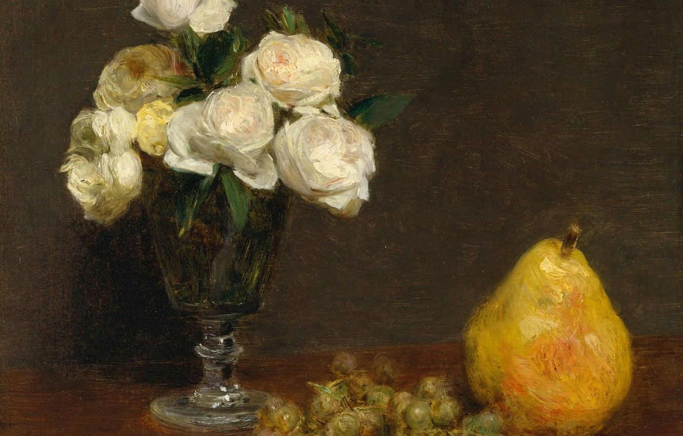 Photo wallpaper roses, picture, grapes, vase, pear, Henri Fantin-Latour, Still life with Roses and Fruit