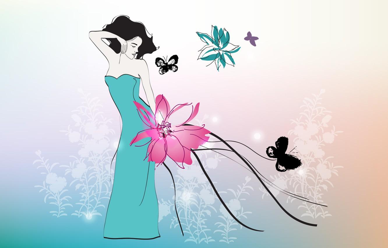 Photo wallpaper flower, girl, butterfly, dress