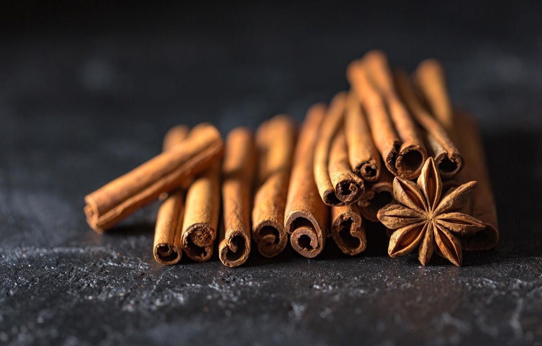 Photo wallpaper macro, cinnamon, spices