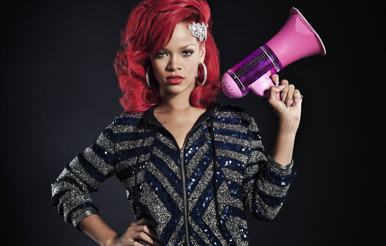 Photo wallpaper singer, Rihanna, megaphone, red hair