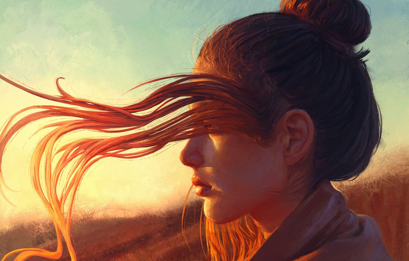 Photo wallpaper Girl, Light, Red, Sun, Hair, Hear
