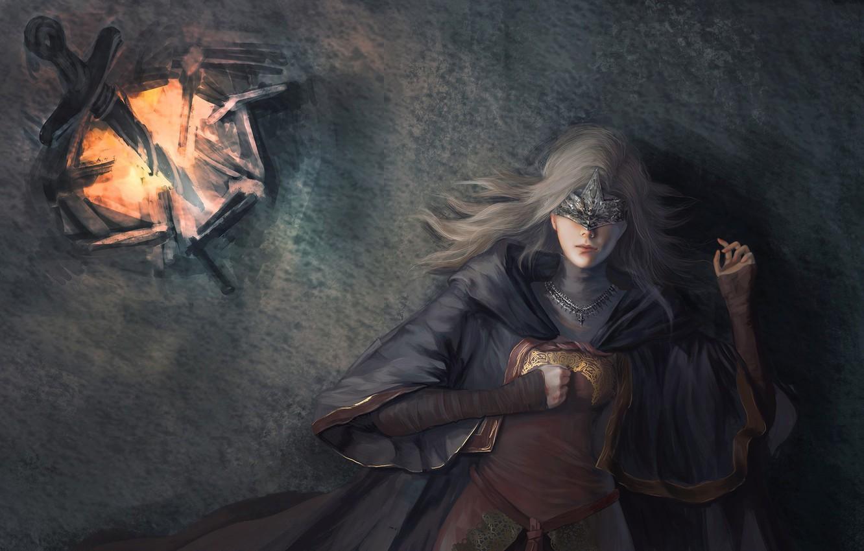 Photo wallpaper fire, girl, sword, game, dress, woman, ken, blade, mask, Dark Souls, spark, Dark Souls 3, …