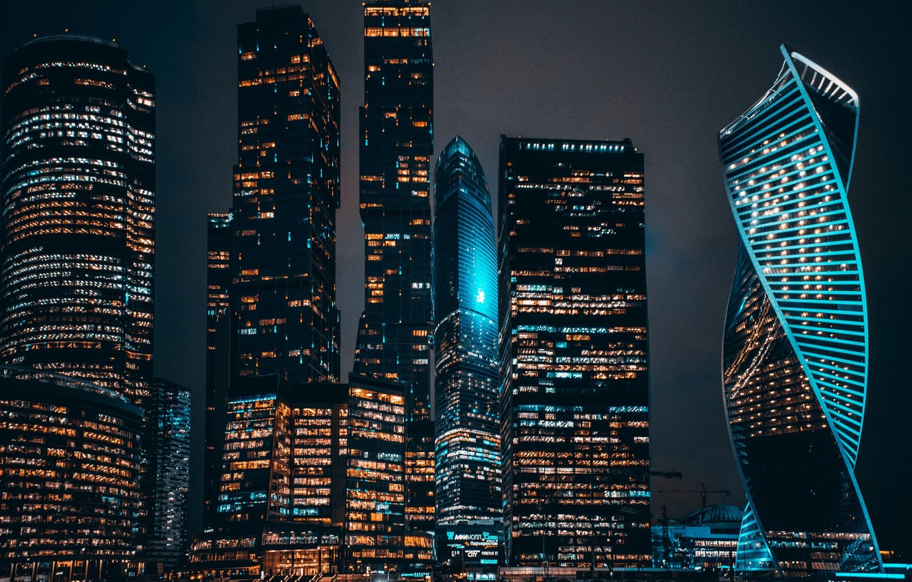 Photo wallpaper night, the city, lights, the evening, Moscow city