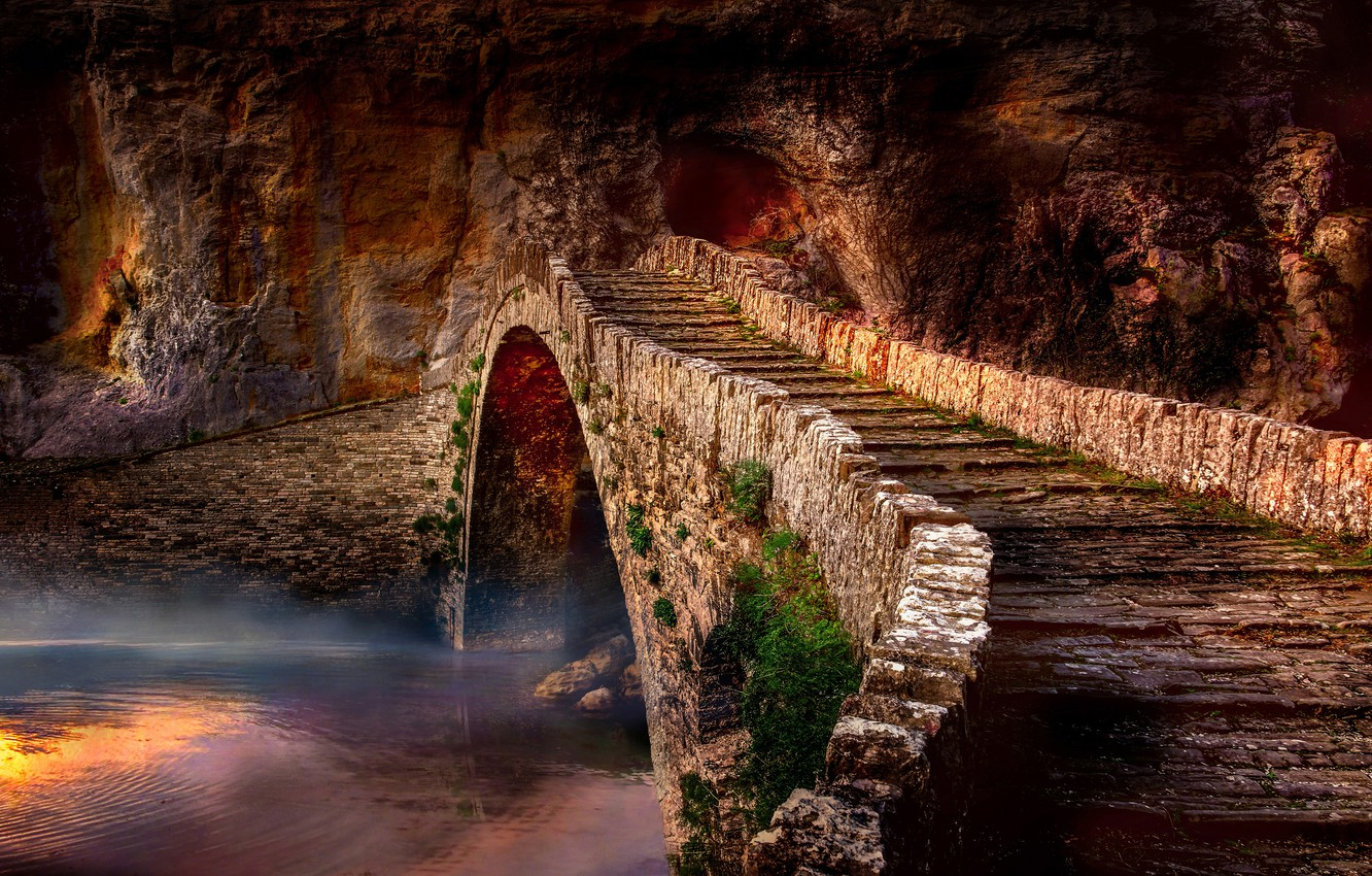 Photo wallpaper water, landscape, bridge, fog, rock, river, romance, the atmosphere, Greece, masonry, arch, bricks, the bridge, ...