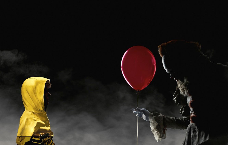 Photo wallpaper night, red, fog, ball, clown, jacket, hood, air, yellow, poster, child, horror, Bill Skarsgård, It, ...