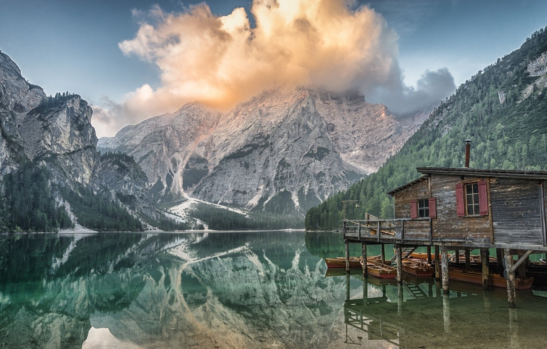 Photo wallpaper Clouds, Lake, Mountain