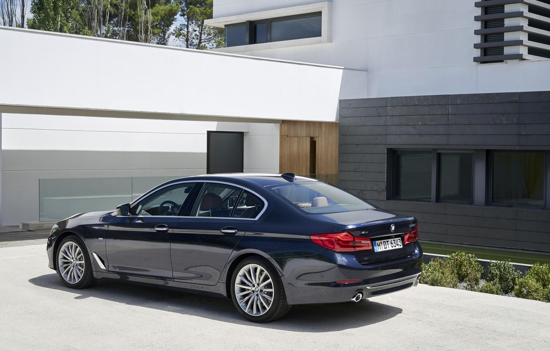 Photo wallpaper house, BMW, Parking, sedan, facade, xDrive, 530d, Luxury Line, 5, dark blue, four-door, 2017, 5-series, …