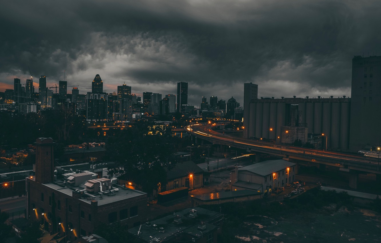 Photo wallpaper roof, night, clouds, lights, the darkness, Canada, Montreal