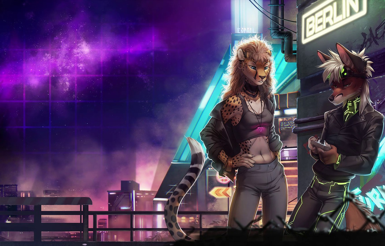 Wallpaper Fox The City Stars Neon Background Neon Electronic Cheetah Berlin Synthpop Cyberpunk Darkwave Synth Retrowave Furry Synth Pop Images For Desktop Section Art Download