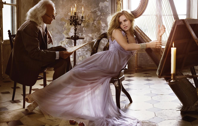 Photo wallpaper girl, pose, notes, candles, makeup, dress, glasses, harp, hairstyle, costume, male, beauty, Emma Watson, Emma …