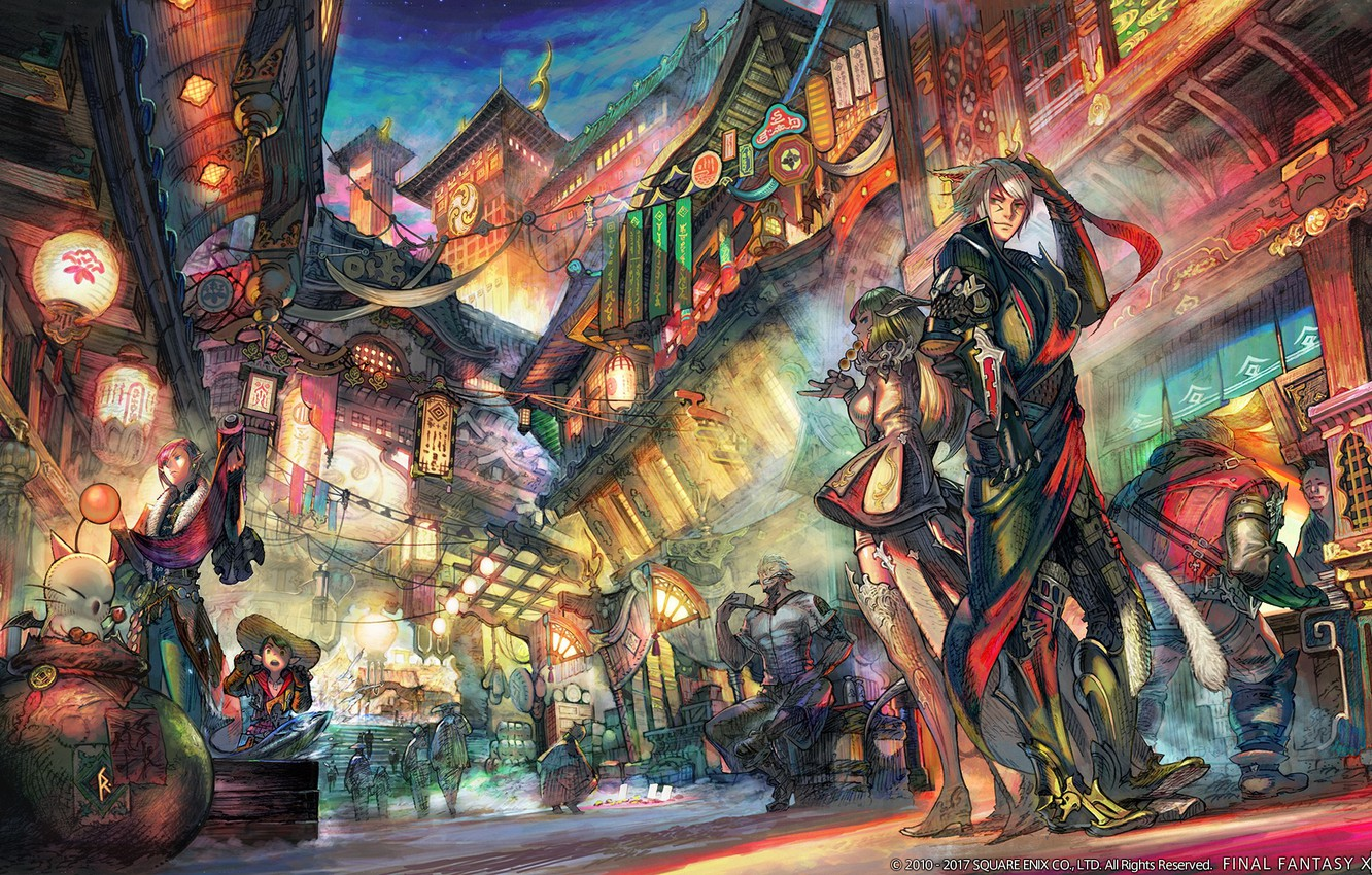 Photo wallpaper the city, street, art, two, final fantasy xiv