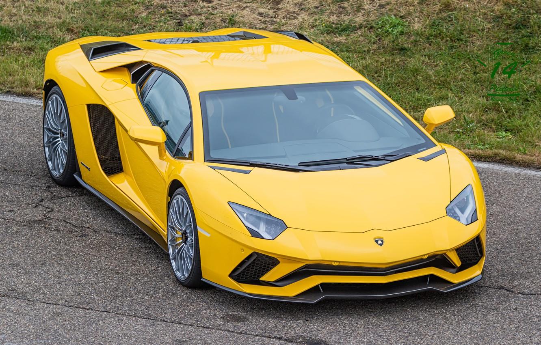 Photo wallpaper Lamborghini, Yellow, Aventador, s