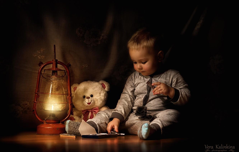 Photo wallpaper toy, lamp, chocolate, boy, bear
