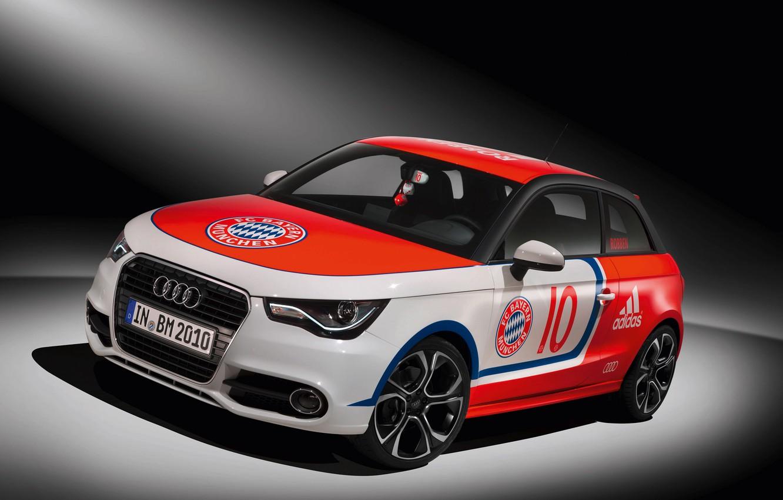 Photo wallpaper car, wallpaper, sport, logo, football, FC Bayern Munchen, Audi A1