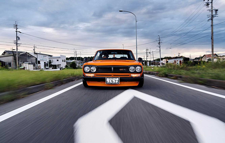Photo wallpaper Auto, Road, Machine, Asphalt, Orange, Nissan, Movement, Nissan, Lights, Car, 2000, Skyline, Nissan Skyline, 2000GT, …