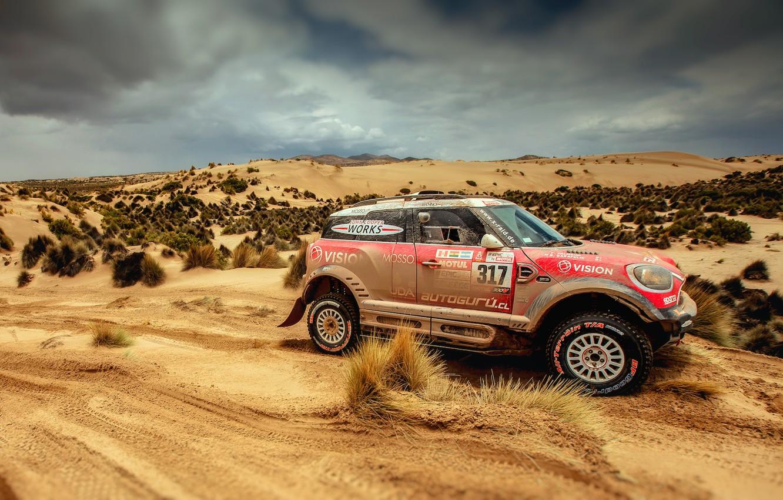 Photo wallpaper Sand, Red, Auto, Mini, Sport, Machine, Speed, Race, Rally, Dakar, Dakar, SUV, Rally, X-Raid Team, …