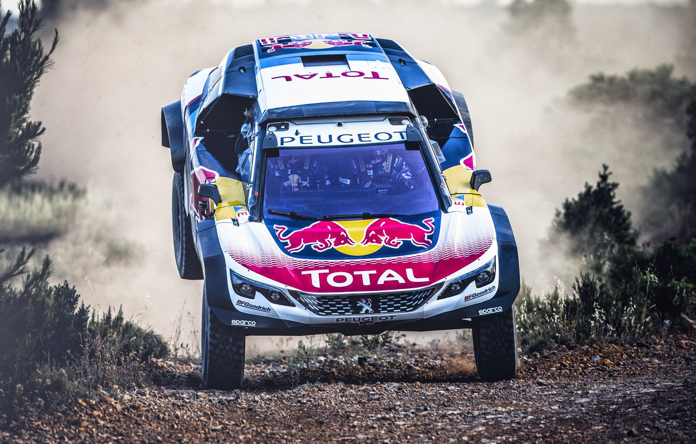Photo wallpaper Auto, Machine, Peugeot, Lights, Red Bull, Rally, Dakar, Dakar, SUV, Rally, Sport, The front, The …