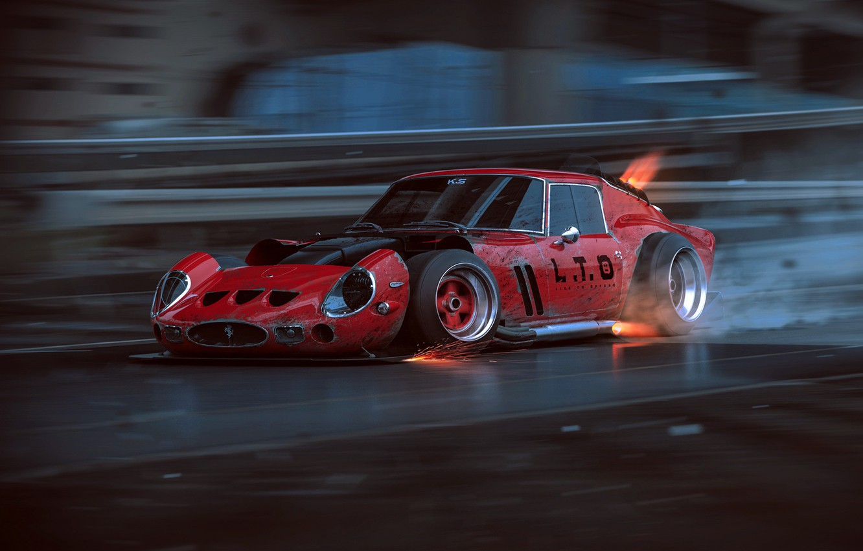 Photo wallpaper Ferrari, Red, GTO, Tuning, Future, Supercar, 250, by Khyzyl Saleem