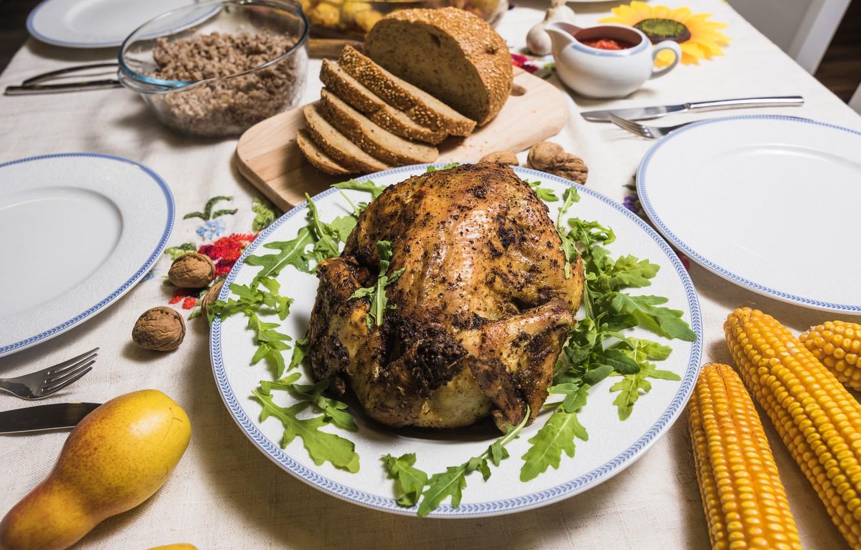 Photo wallpaper bread, nuts, baked chicken