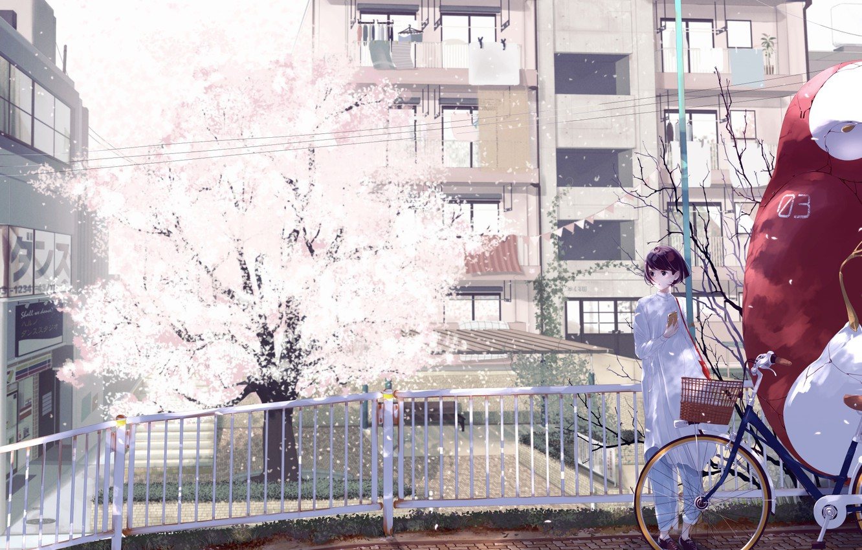 Photo wallpaper girl, bridge, bike, the city, tree, home, anime, Sakura, art, form, schoolgirl