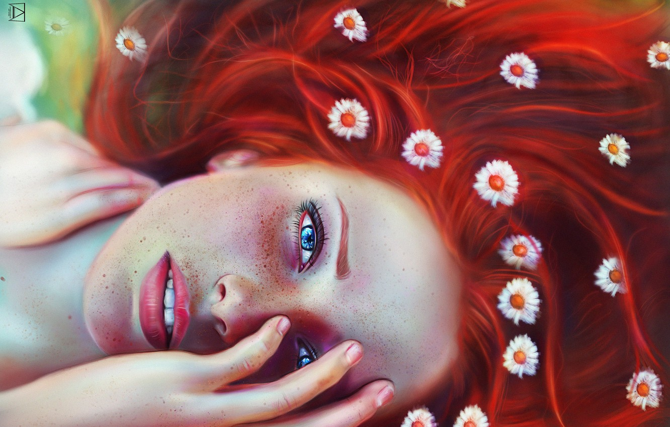 Photo wallpaper eyes, look, girl, face, freckles, red, flowers