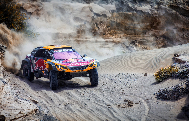 Photo wallpaper Sand, Auto, Sport, Machine, Speed, Race, Peugeot, Red Bull, 300, Rally, Dakar, Dakar, SUV, Rally, …