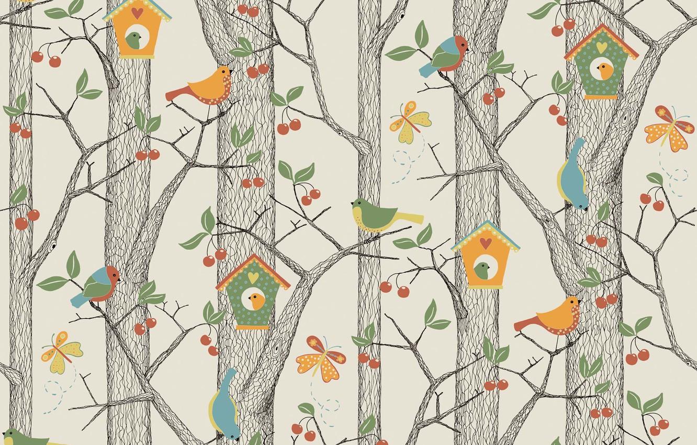 Photo wallpaper forest, vector, art, birdhouse, bird, children's