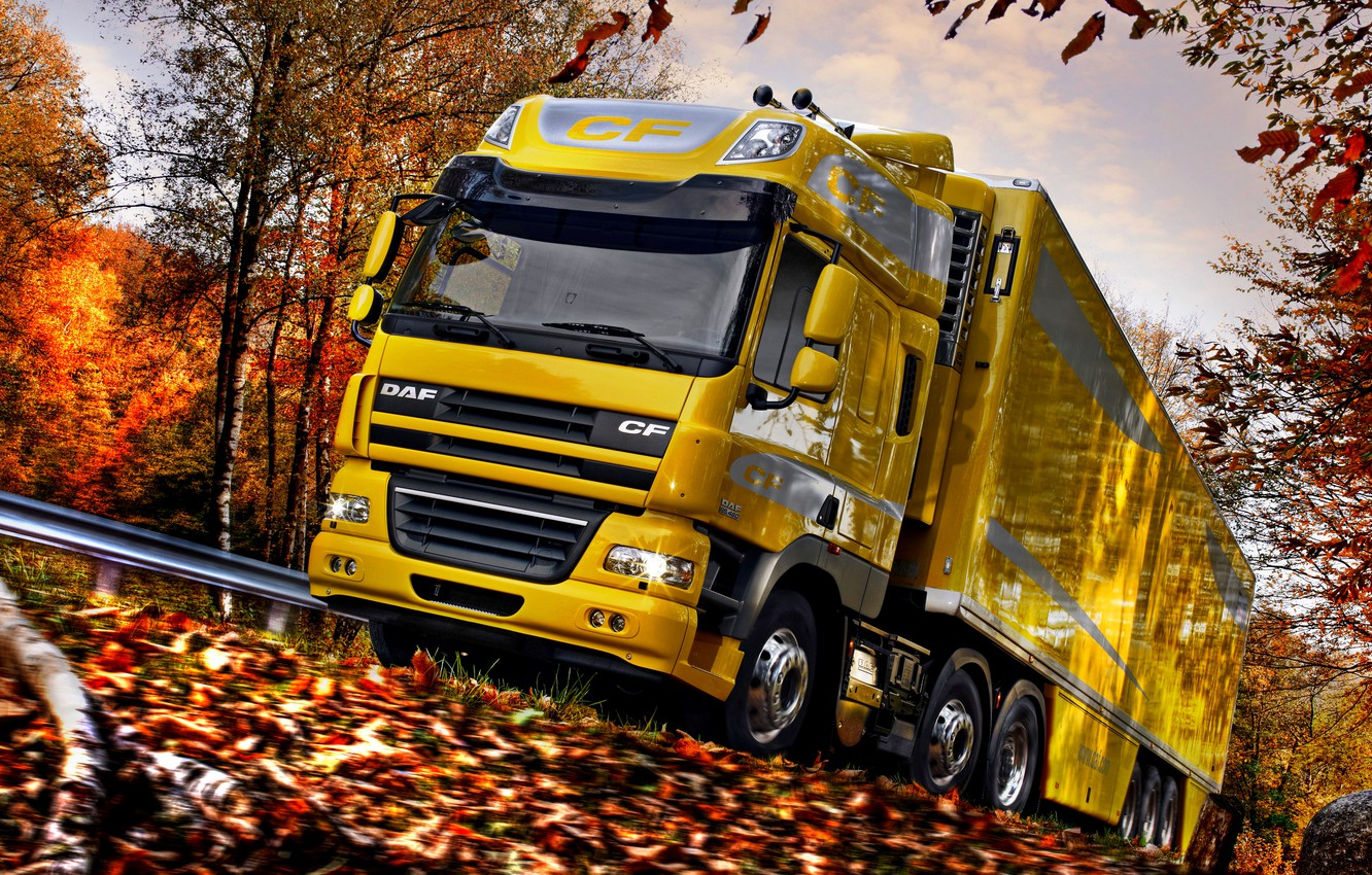Photo wallpaper road, autumn, the sky, clouds, trees, yellow, foliage, blur, the fence, roadside, DAF, tractor, DAF, …
