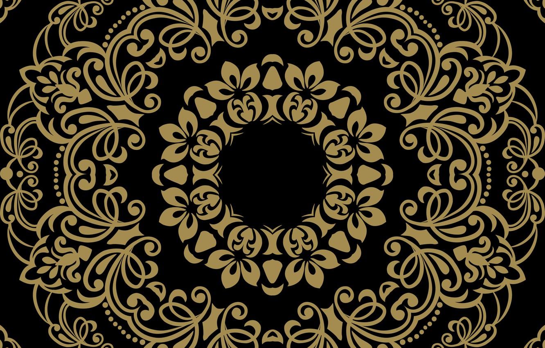 Photo wallpaper background, black, gold, ornament, pattern, ornament, seamless