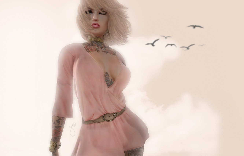 Photo wallpaper girl, birds, face, background, figure, tattoo