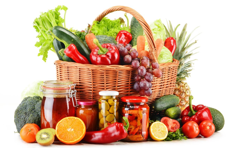 Photo wallpaper lemon, basket, orange, kiwi, grapes, white background, pepper, banks, fruit, pineapple, vegetables, tomatoes, carrots, cabbage, …