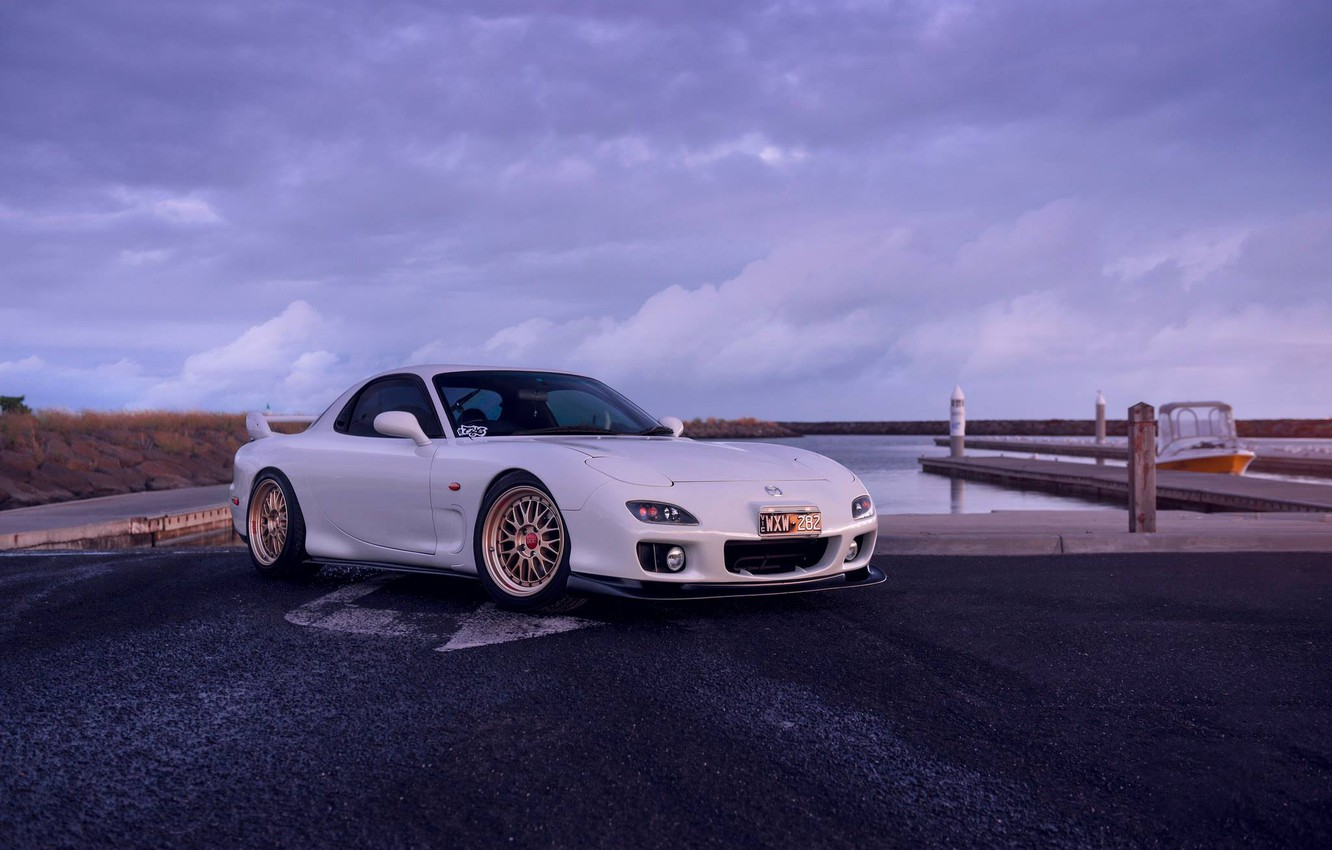 Photo wallpaper Mazda, Car, Front, White, Sunrise, RX-7, Sport