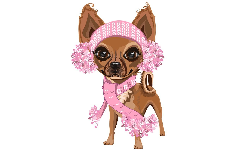 Photo wallpaper girl, white background, dog, pink scarf