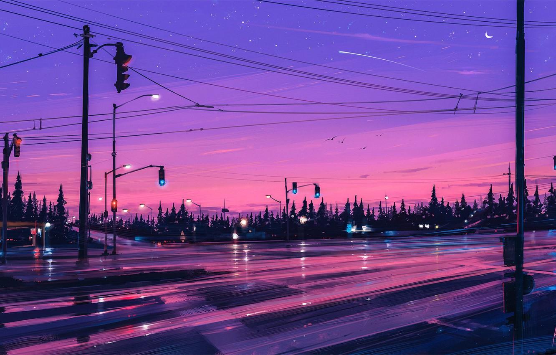 Photo wallpaper road, forest, purple, the sky, stars, trees, the moon, figure, art, crossroads, artist, moon, sky, …