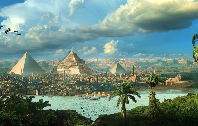 Photo wallpaper birds, the city, palm trees, pyramid, Egypt