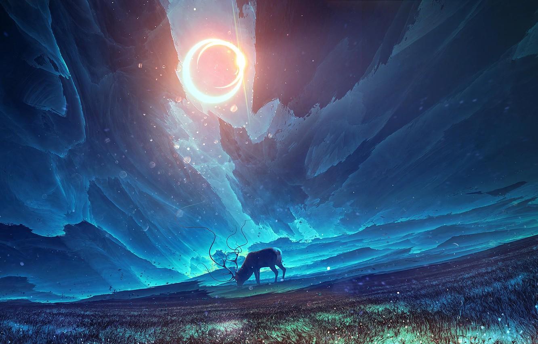 Photo wallpaper the sun, surrealism, deer, art, art
