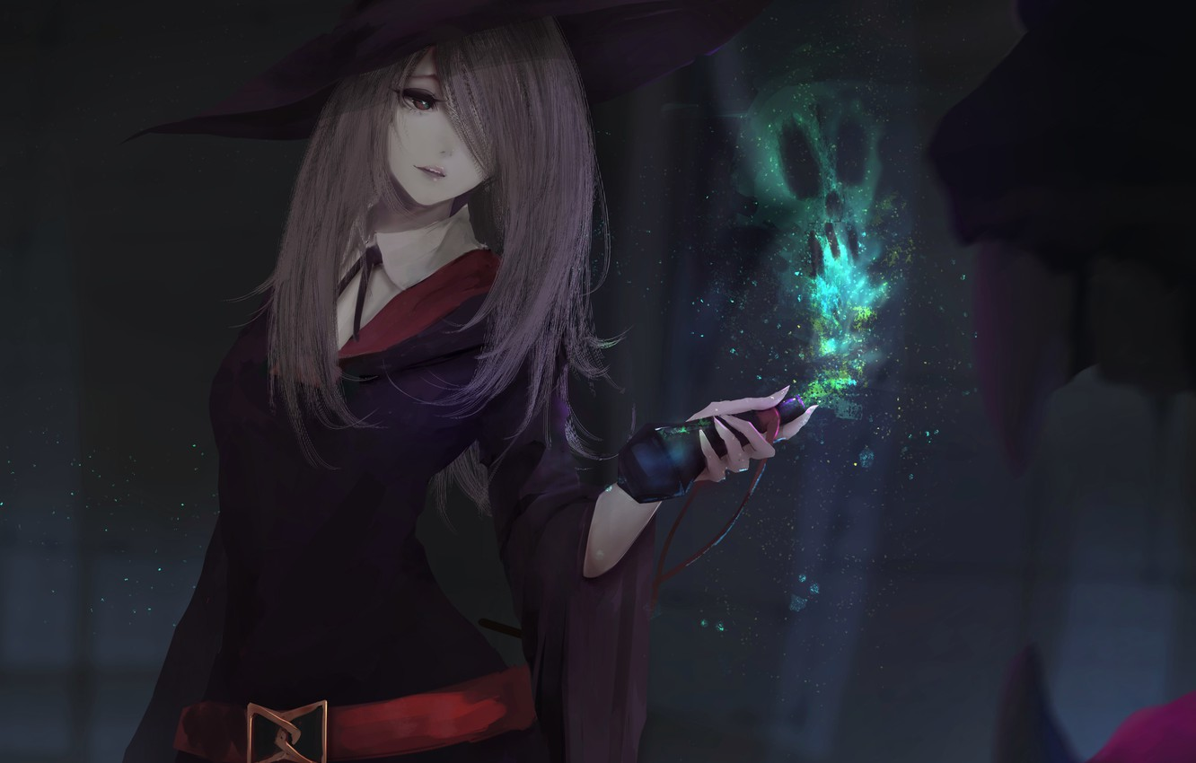 Photo wallpaper girl, magic, hat, anime, art, form, witch, sucy manbavaran, aoi ogata, little witch academia