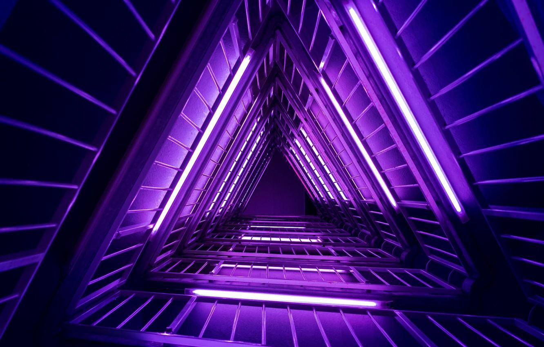Photo wallpaper purple, neon, ladder, light, neon, purple, ladder