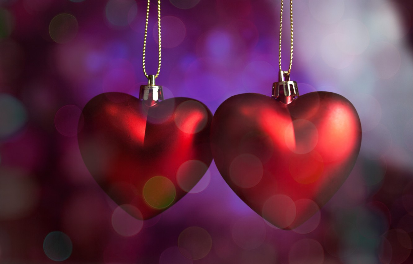 Photo wallpaper hearts, red, love, romantic, hearts, bokeh, Valentine's Day