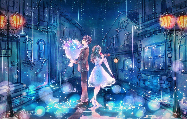 Photo wallpaper night, the city, rain, street, romance, home, bouquet, umbrella, lights, costume, puddles, two, date, white …