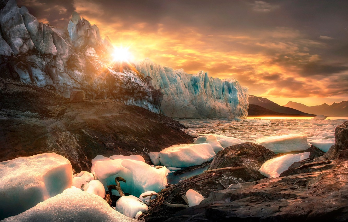 Photo wallpaper the sun, mountains, stones, rocks, ice, ice, Argentina, Patagonia