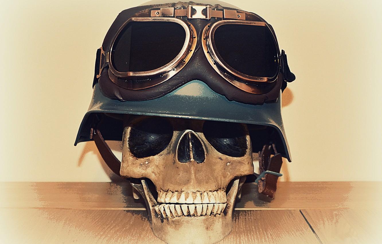 Photo wallpaper skull, glasses, helmet