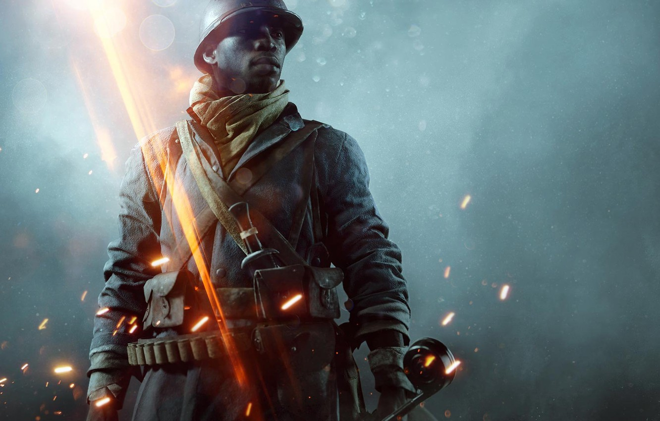 Photo wallpaper Lights, Look, Smoke, Fire, Military, Electronic Arts, DLC, DICE, Equipment, Weapons, Frostbite, Battlefield 1, Battlefield …