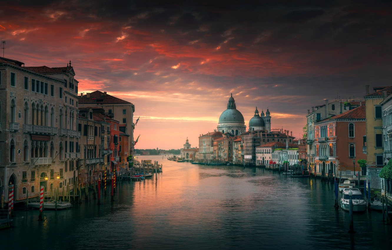 Photo wallpaper the sky, water, the city, home, the evening, morning, Italy, Venice