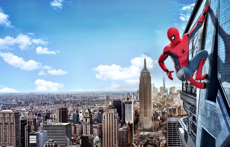 Photo wallpaper city, cinema, spider, sky, cloud, man, boy, Marvel, movie, Spider-man, hero, film, mask, Spiderman, uniform, …