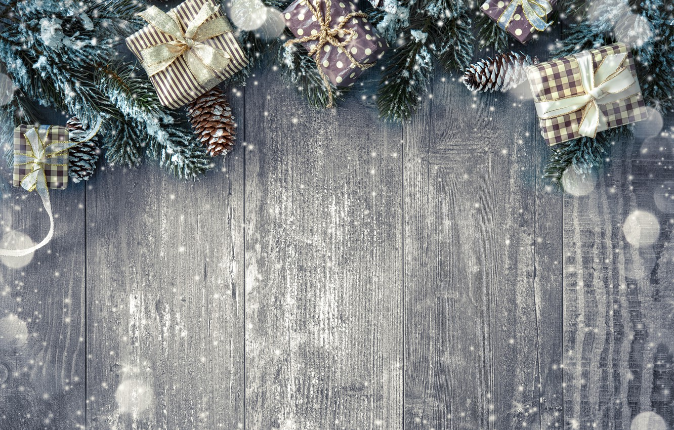 Photo wallpaper snow, decoration, New Year, Christmas, gifts, happy, Christmas, wood, snow, New Year, Merry Christmas, Xmas, …