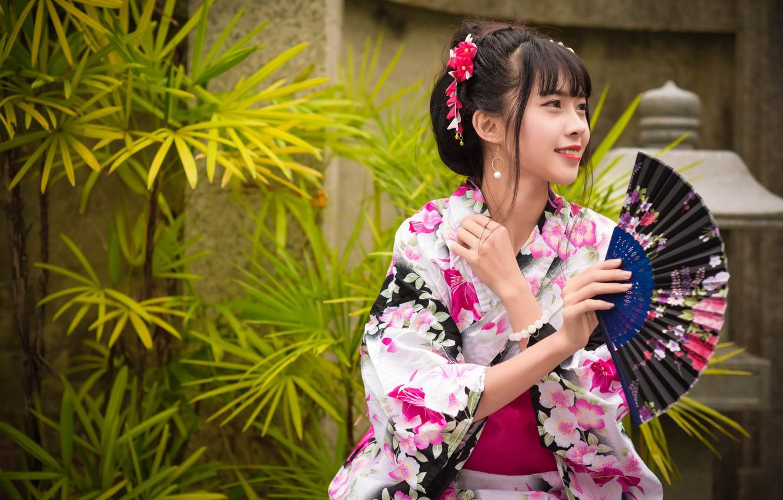 Photo wallpaper girl, smile, kimono, Asian